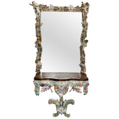 Rare German Porcelain Console and Mirror