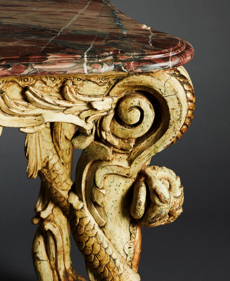 Carved Rare German Rococo 18th Century Period Console Table with Marble Top For Sale