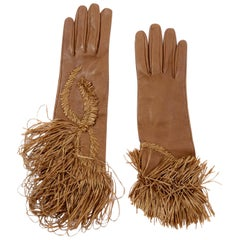 Rare Gianfranco Ferre Vintage Soft Leather Gloves w Braided & Fringe Straw