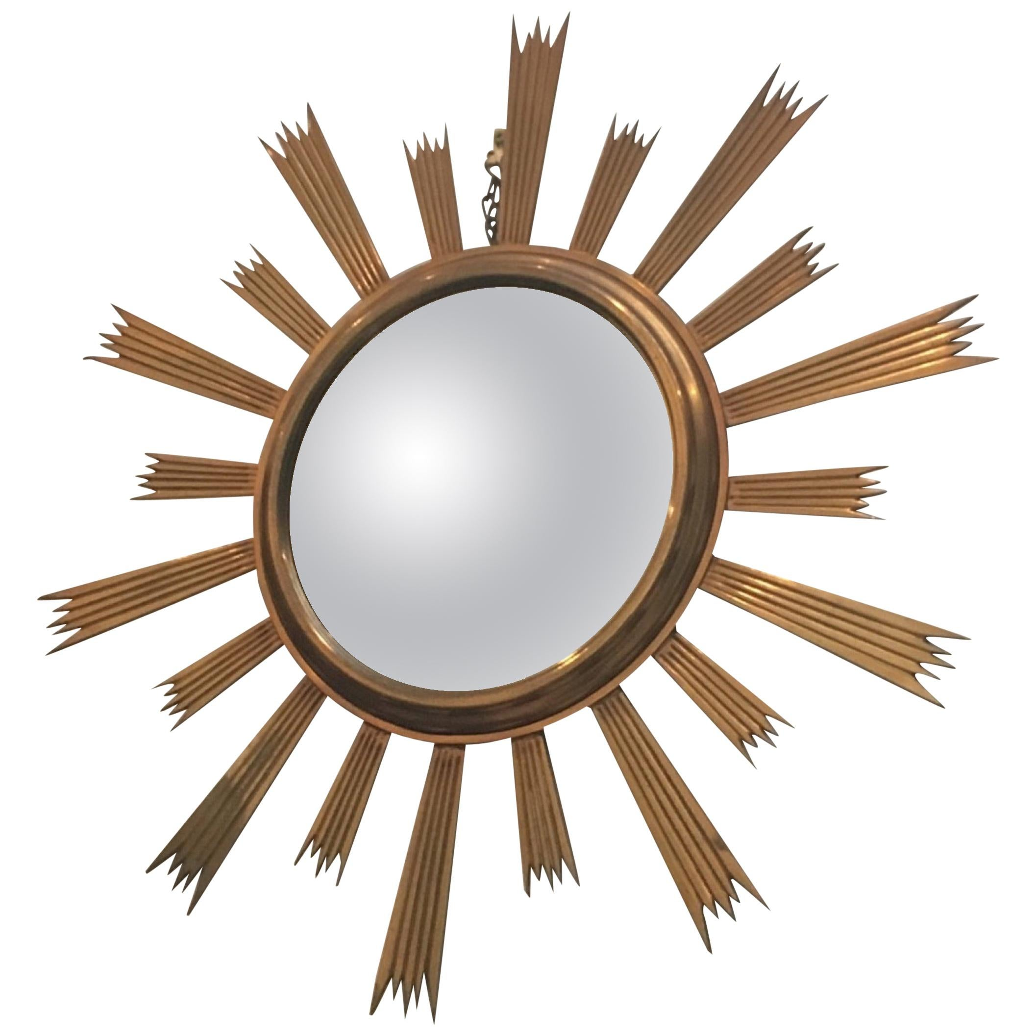 Rare Gild Brass Sunburst Mirror, circa 1960