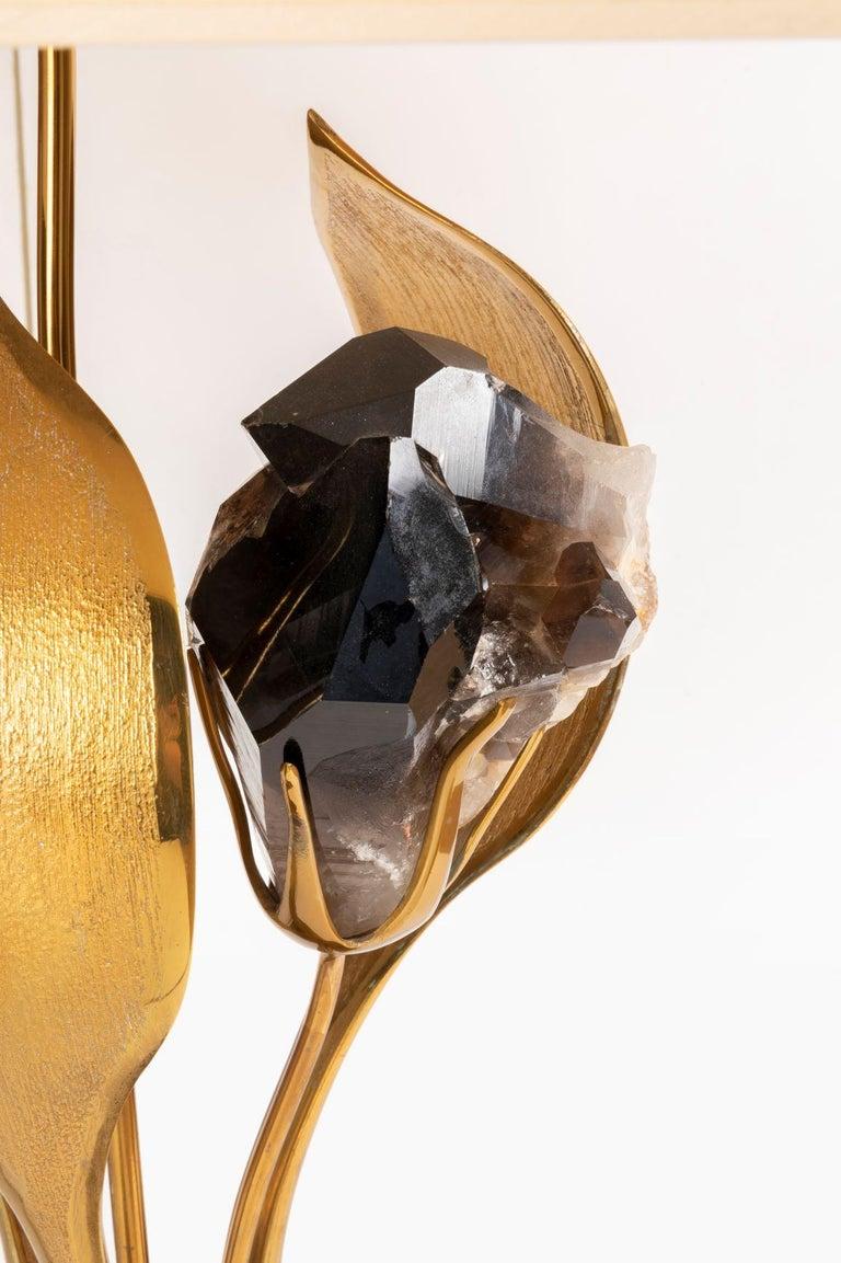 Late 20th Century Rare Gilded Brass and Black Quartz