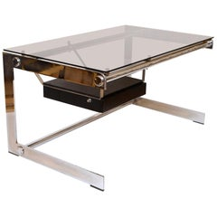 Rare Gilles Bouchez Chrome and Glass Desk for Airbourne, circa 1965