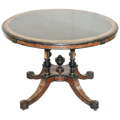 Rare Gillow & Co 1852-1857 Aesthetic Movement Burr Walnut Ebonised Dining Table