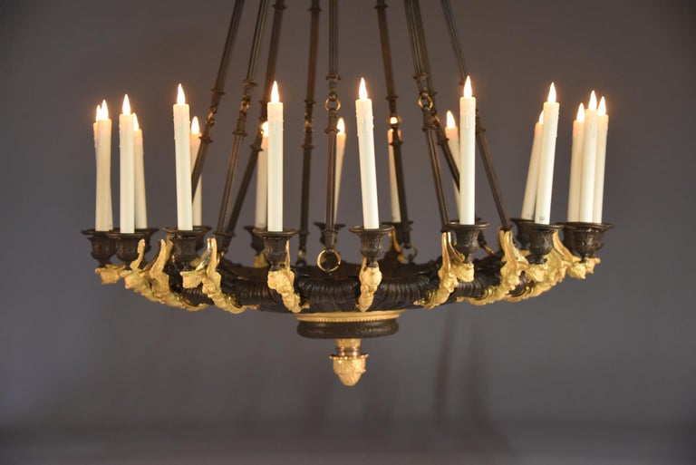 Rare Gilt Bronze Chandelier, Attributed to Galle, Charles X, 18-Light Arms, 1820 6