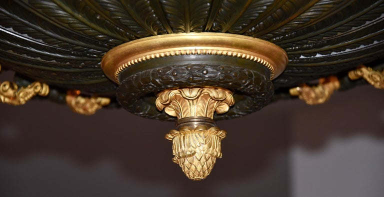 19th Century Rare Gilt Bronze Chandelier, Attributed to Galle, Charles X, 18-Light Arms, 1820