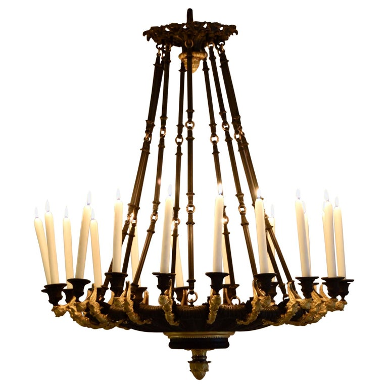 Rare Gilt Bronze Chandelier, Attributed to Galle, Charles X, 18-Light Arms, 1820