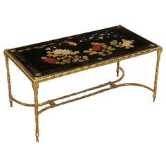 Rare Gilt Bronze Faux Bamboo Coffee Table by Maison Baguès with Floral Motifs
