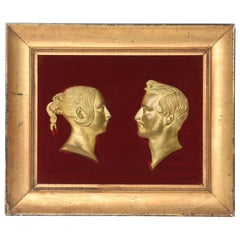 Rare Gilt Portrait Reliefs of Queen Victoria and Prince Albert, 1840