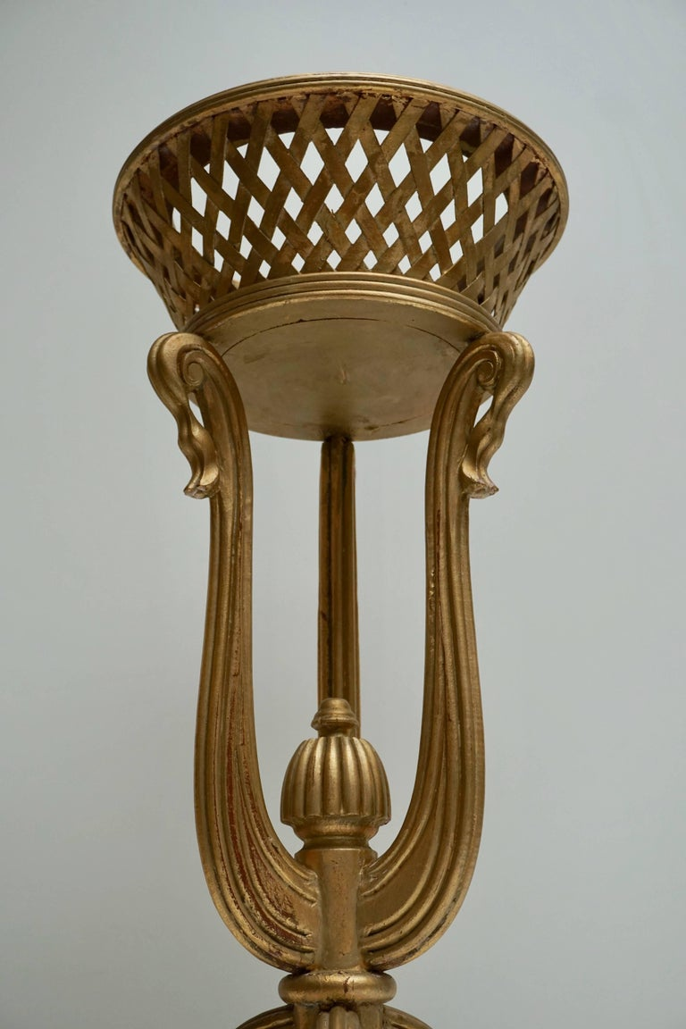Rare Giltwood Jardiniere Planter in the Art Deco Style of Edgar Brandt For Sale 5