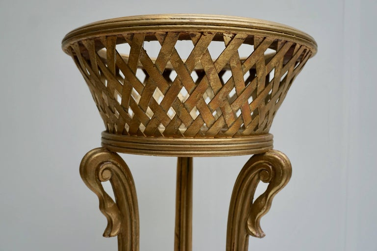 Rare Giltwood Jardiniere Planter in the Art Deco Style of Edgar Brandt For Sale 6