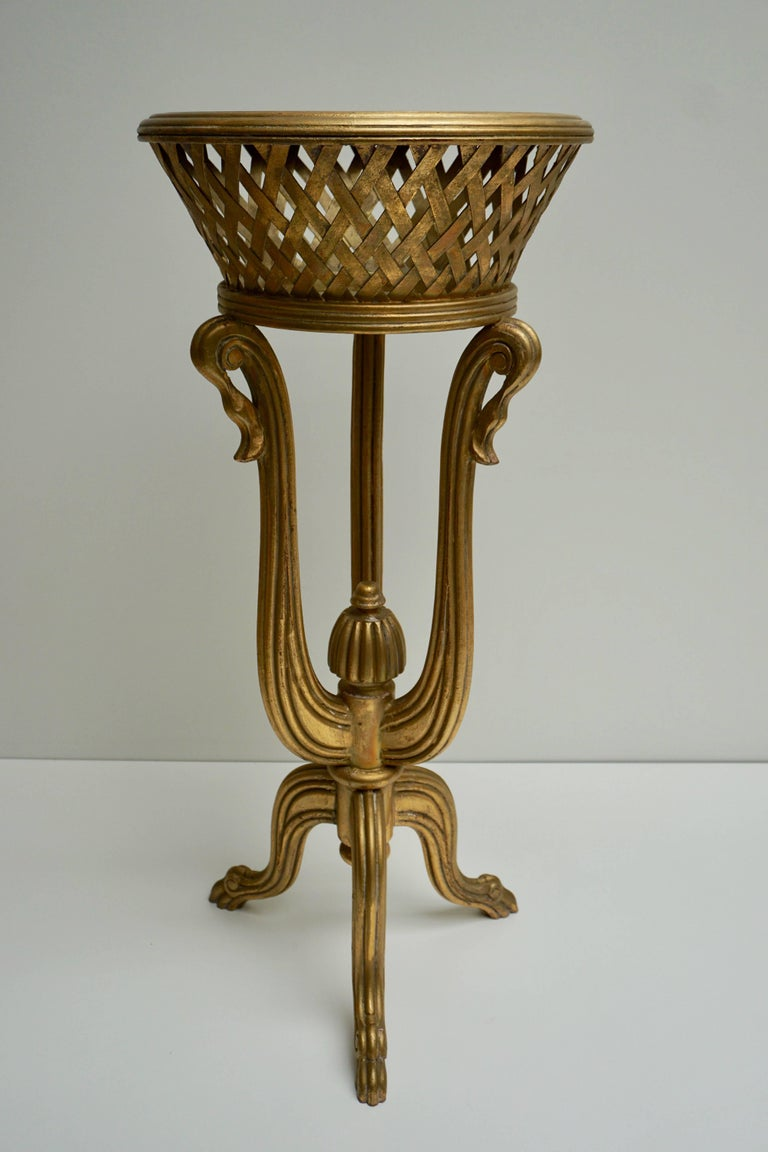 European Rare Giltwood Jardiniere Planter in the Art Deco Style of Edgar Brandt For Sale