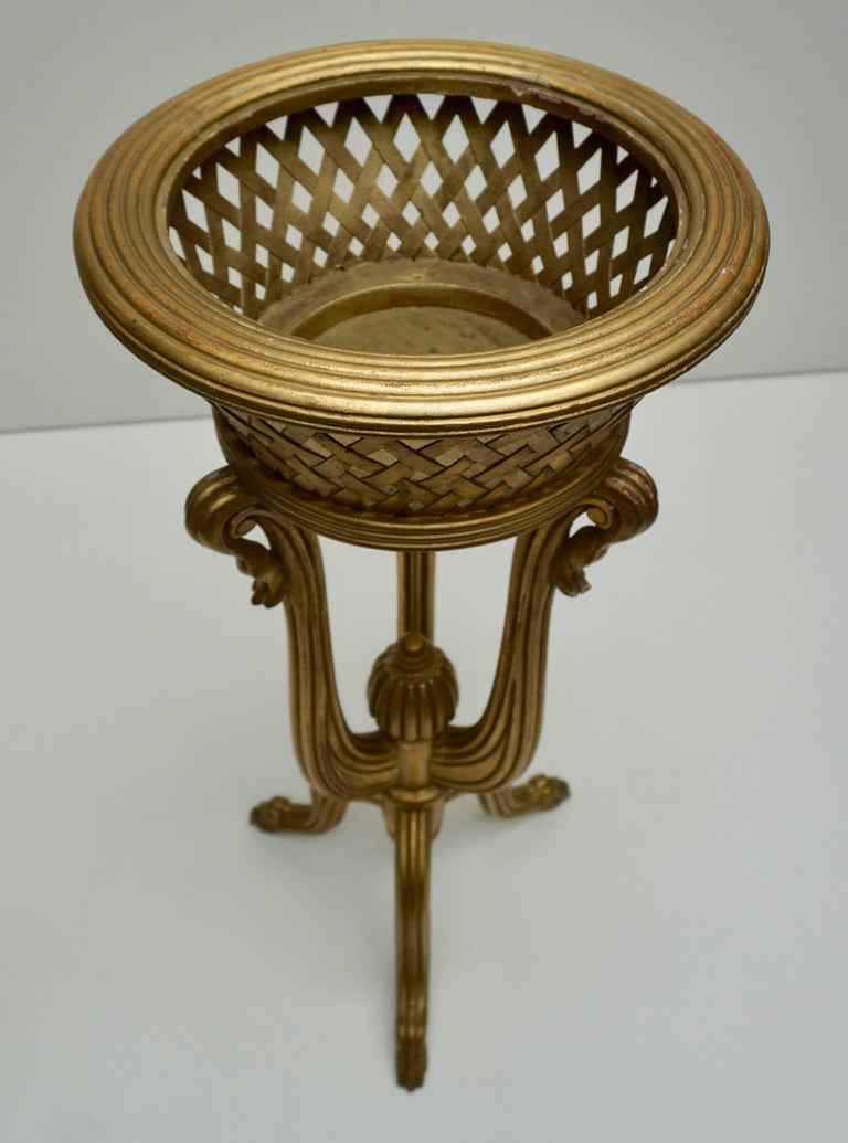 Wood Rare Giltwood Jardiniere Planter in the Art Deco Style of Edgar Brandt For Sale