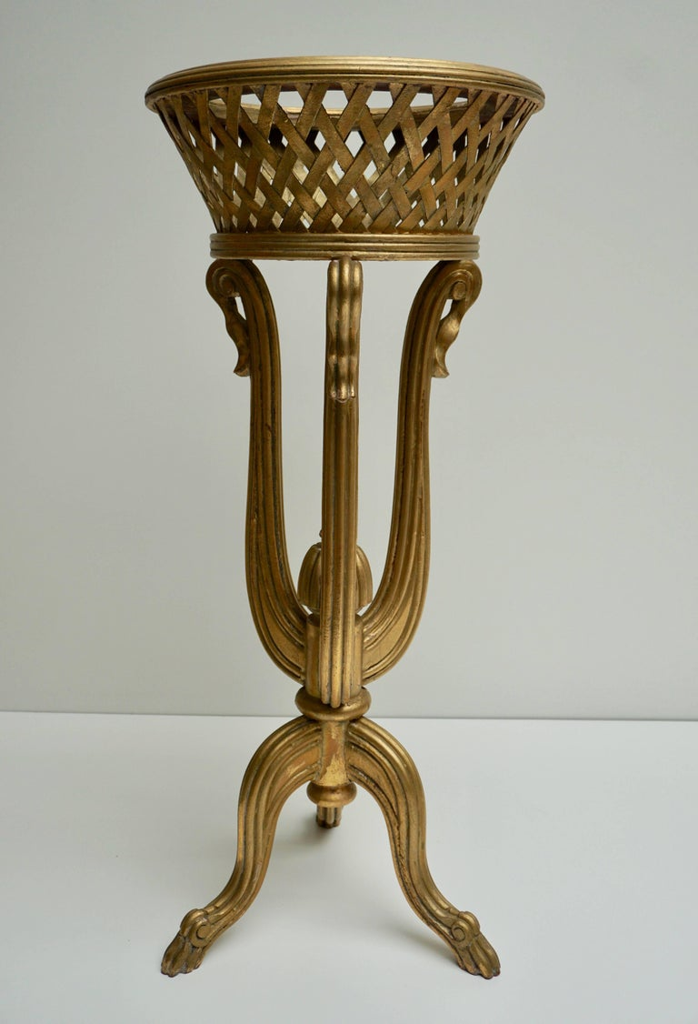 Rare Giltwood Jardiniere Planter in the Art Deco Style of Edgar Brandt For Sale 2