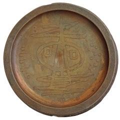 Rare Gio Pomodoro Copper and Wood Ashtray, Italy, 1950