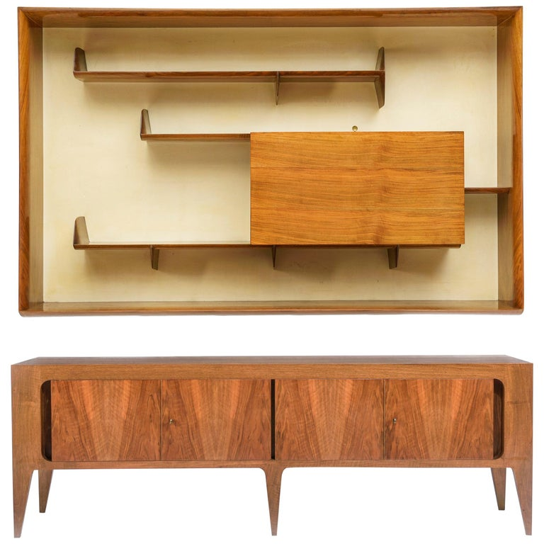 Rare Gio Ponti Hanging Cabinet and Sideboard 1951 Singer & Sons For Sale