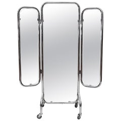 Rare Gispen Chrome Tubular Full Length 3-Way Mirror