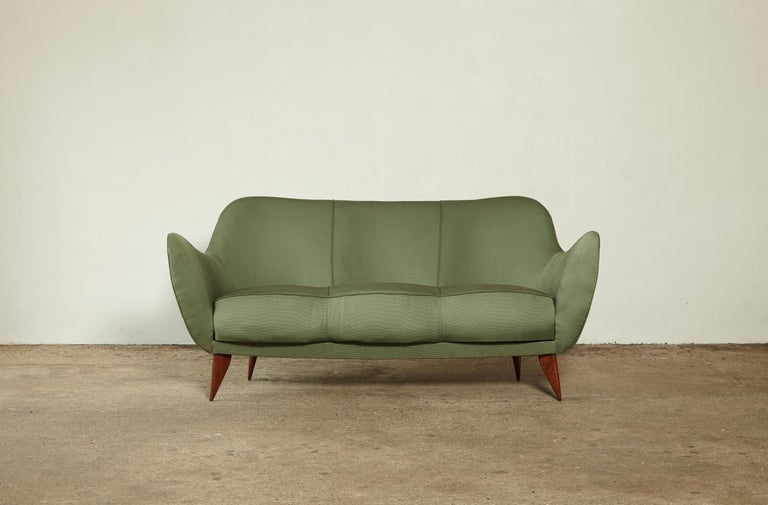A rare 3 person Giulia Veronesi Perla sofa produced by ISA Bergamo, Italy 1950s. With markers mark. Original green fabric in good condition with minor signs of use and wear. Recovering is possible, we can assist if required.     UK customers please
