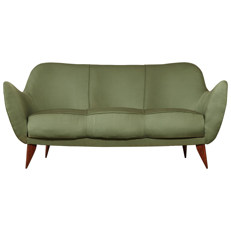 Rare Giulia Veronesi Perla Sofa, Green Fabric, ISA Bergamo, Italy, 1950s