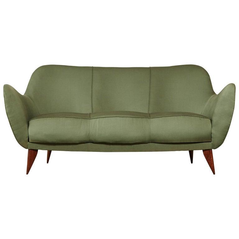 Rare Giulia Veronesi Perla Sofa, Green Fabric, ISA Bergamo, Italy, 1950s For Sale