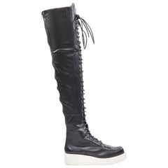 rare GIVENCHY RICCARD TISCI AW11 runway lace up over the knee creeper boots EU42