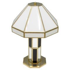 Rare Glass and Brass Table Lamp by Carl Zalloni for Cazal, 1969