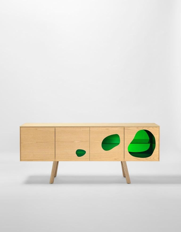 Modern Rare Glass and Wood Prototype Aquario II Sideboard by Campana Brothers For Sale
