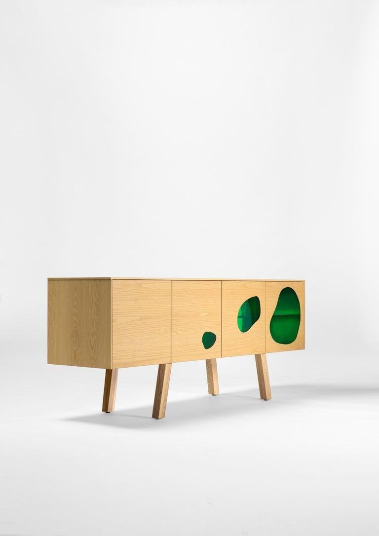 Spanish Rare Glass and Wood Prototype Aquario II Sideboard by Campana Brothers For Sale