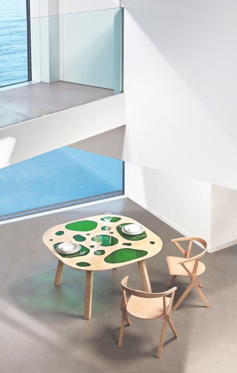 Prototype table designed by Fernando and Humberto Campana in 2016 This is the first piece ever made and is unique. Manufactured in Spain by BD Barcelona design.  Natural ash and glass.  Humberto Campana, 1953 and Fernando Campana, 1961 are