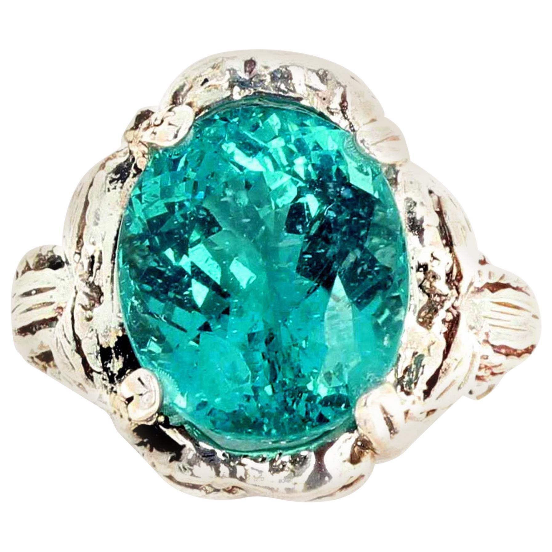 Gemjunky Magnificent Glittering 8.63 Carat Natural Rare Apatite Ring