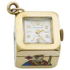 Rare Gold and Enamel Card Suit Clock Charm