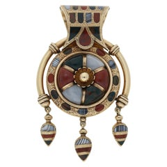 Rare Gold and Scottish Hardstone Bulla-Style Pendant