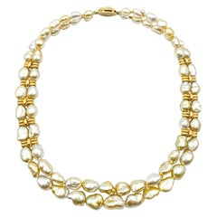 Rare Gold Heishi Pearls Necklace 18 Karat Gold