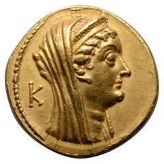 Rare Gold Tetradrachm of Queen Arsinoe II, 180-116 BC