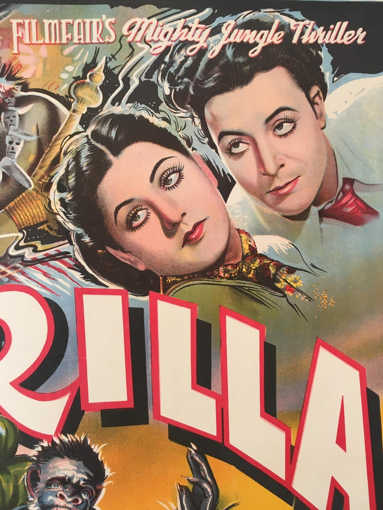 Rare 'Gorilla' Original Vintage Bollywood Movie Poster, 1953 For Sale 3