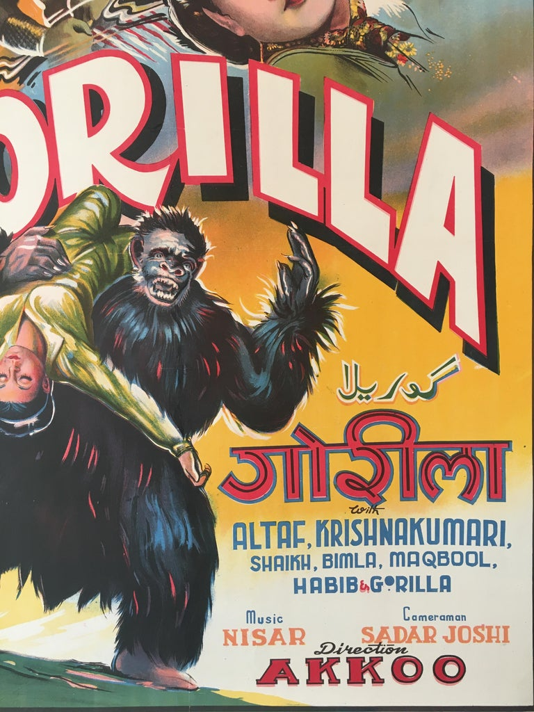 Anglo-Indian Rare 'Gorilla' Original Vintage Bollywood Movie Poster, 1953 For Sale