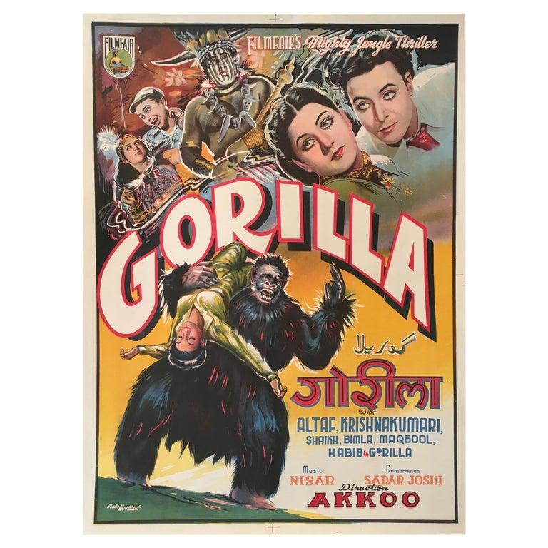 Rare 'Gorilla' Original Vintage Bollywood Movie Poster, 1953 For Sale