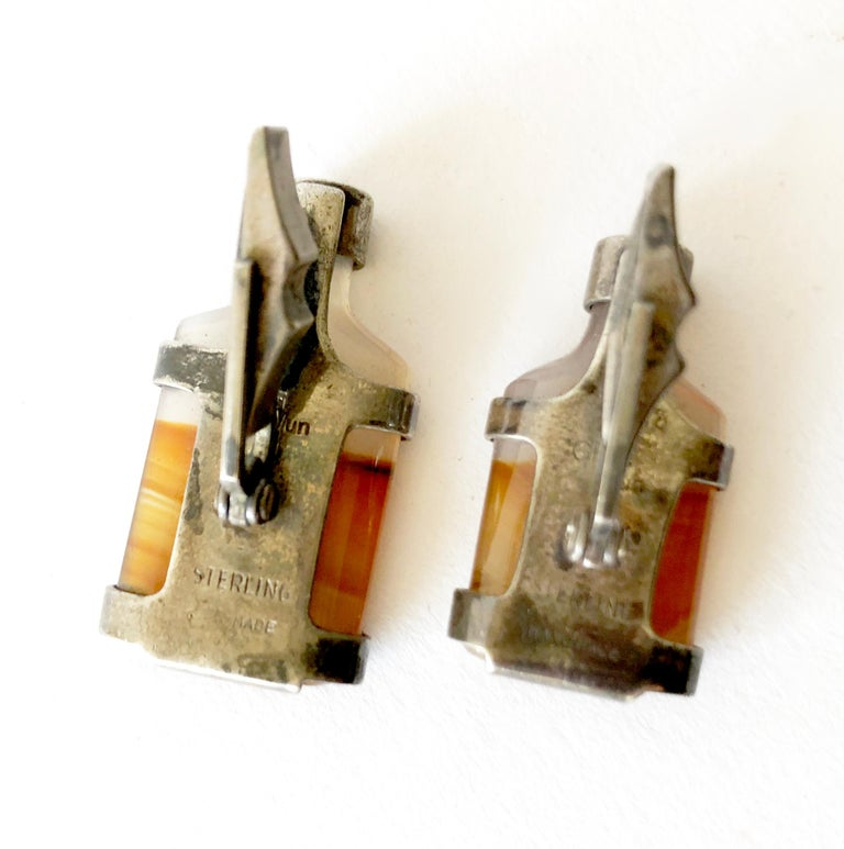 Modernist Rare Gra-Wun Raymond Graves Sterling Silver Agate Whiskey Bottle Cufflinks For Sale