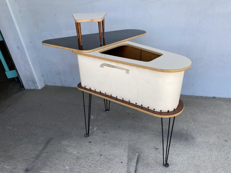 Mid-20th Century Rare Grand Server Convertible Bar w/ Tufted Sides Designed for the World's Fair For Sale