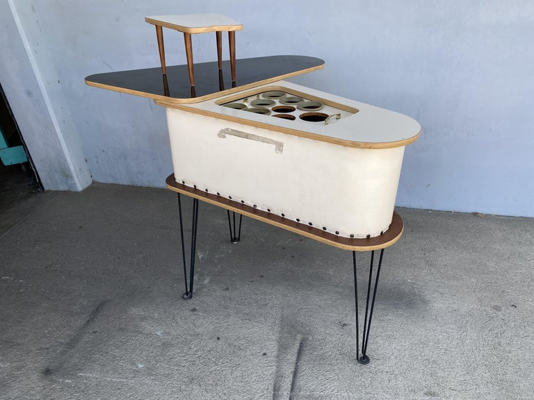 Wood Rare Grand Server Convertible Bar w/ Tufted Sides Designed for the World's Fair For Sale