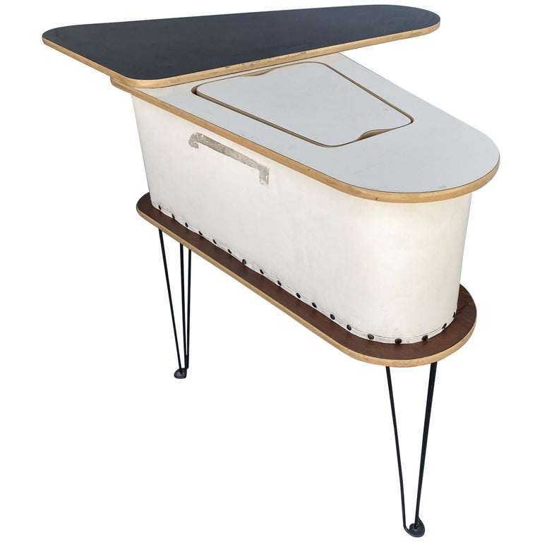Rare Grand Server Convertible Bar w/ Tufted Sides Designed for the World's Fair For Sale
