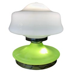 Rare Green and White Opaline Glass Table Lamp, 1970s