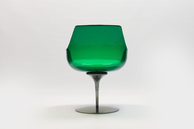 Rare Green Edition 'Champagne' Chair by Estelle & Erwin Laverne For Sale 6