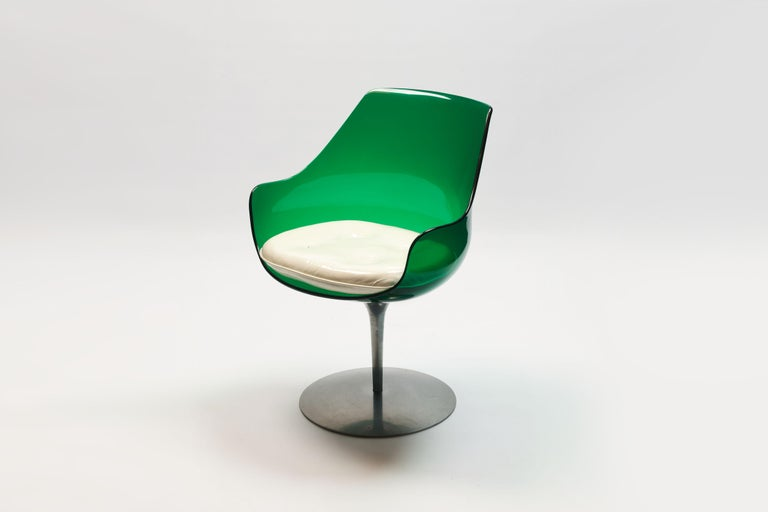 French Rare Green Edition 'Champagne' Chair by Estelle & Erwin Laverne For Sale