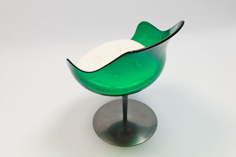 Faux Leather Rare Green Edition 'Champagne' Chair by Estelle & Erwin Laverne For Sale
