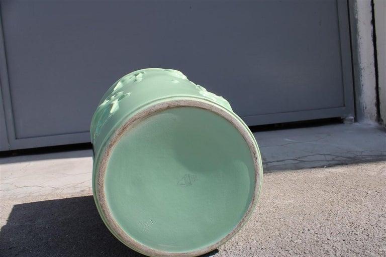 Rare Green Great Vase Angelo Biancini 1930 Futuristic Made in Italy Laveno For Sale 3