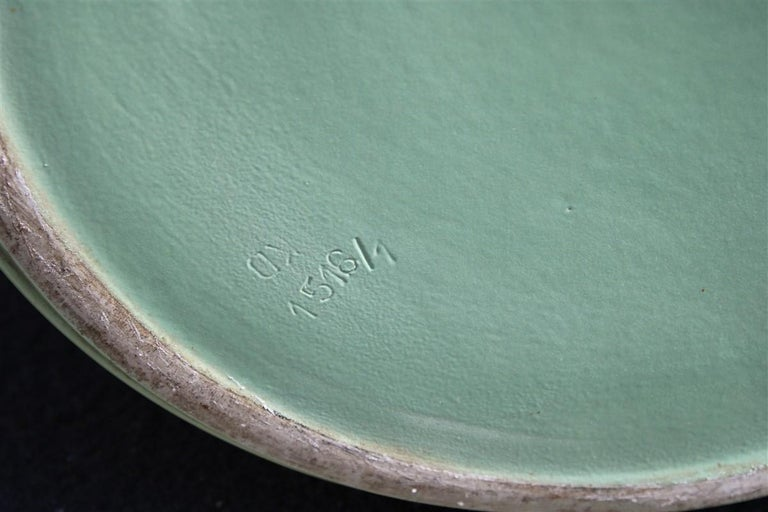 Rare Green Great Vase Angelo Biancini 1930 Futuristic Made in Italy Laveno For Sale 4