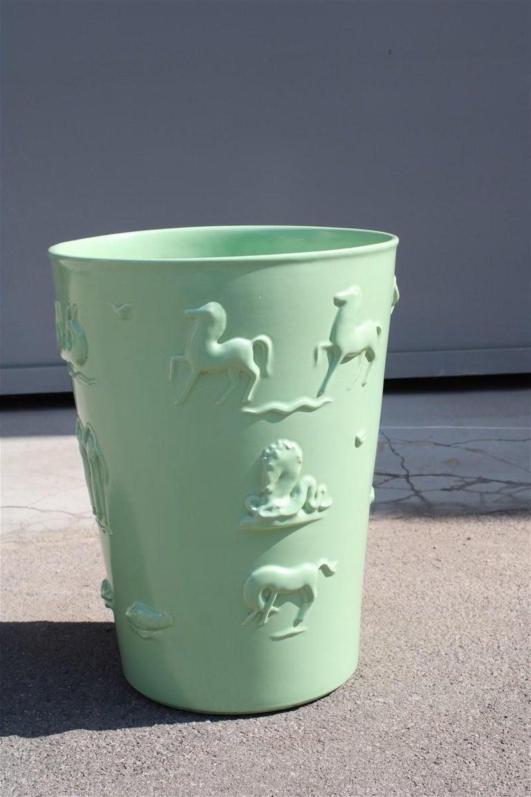 Rare green great vase Angelo Biancini 1930 futuristic made in Italy Laveno.