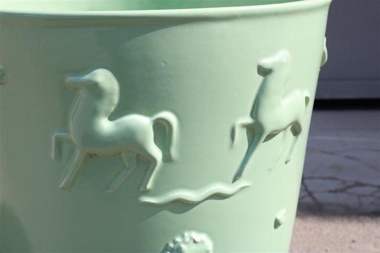 Art Deco Rare Green Great Vase Angelo Biancini 1930 Futuristic Made in Italy Laveno For Sale