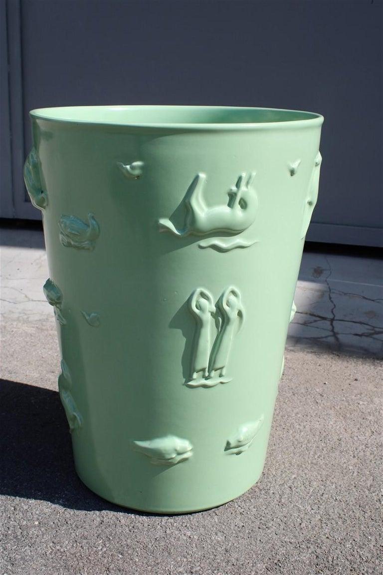 Rare Green Great Vase Angelo Biancini 1930 Futuristic Made in Italy Laveno In Good Condition For Sale In Palermo, Sicily