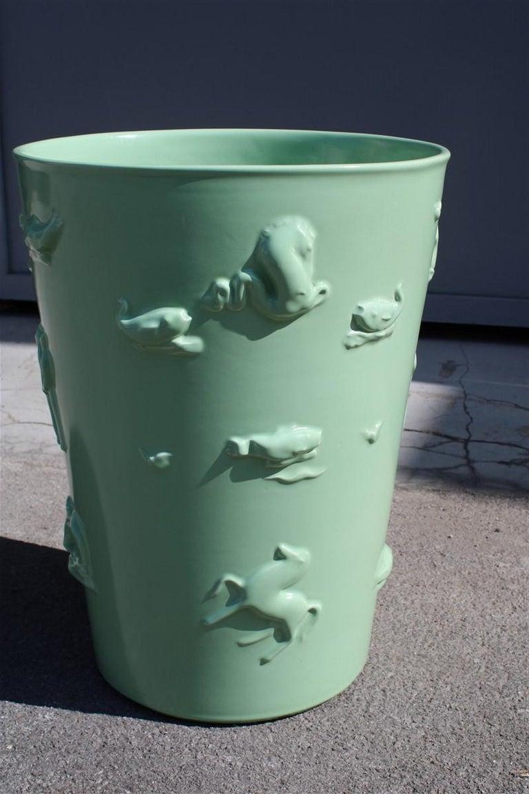 Mid-20th Century Rare Green Great Vase Angelo Biancini 1930 Futuristic Made in Italy Laveno For Sale